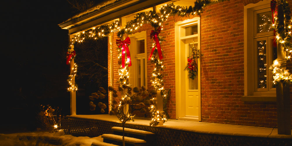 Christmas lights on exterior of house
