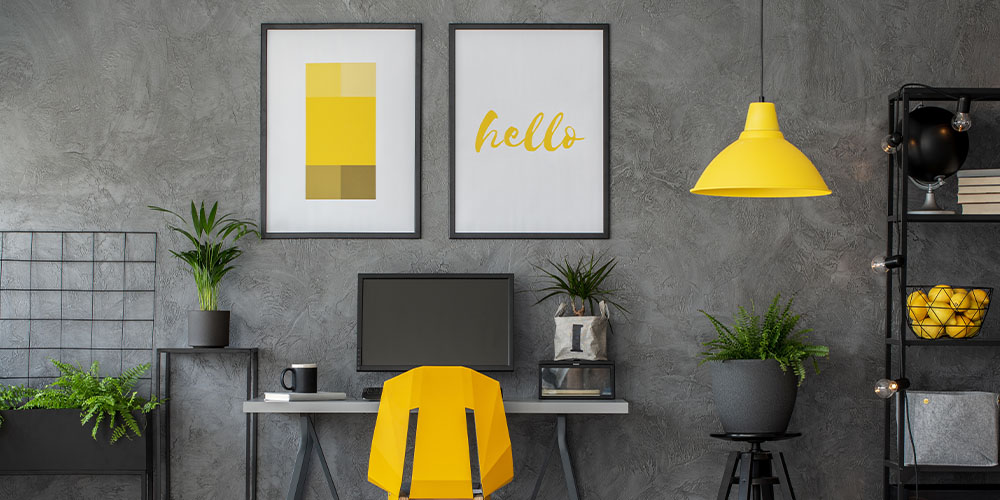 Wallace's Garden Center Pantone colors of the year yellow and grey office with houseplants