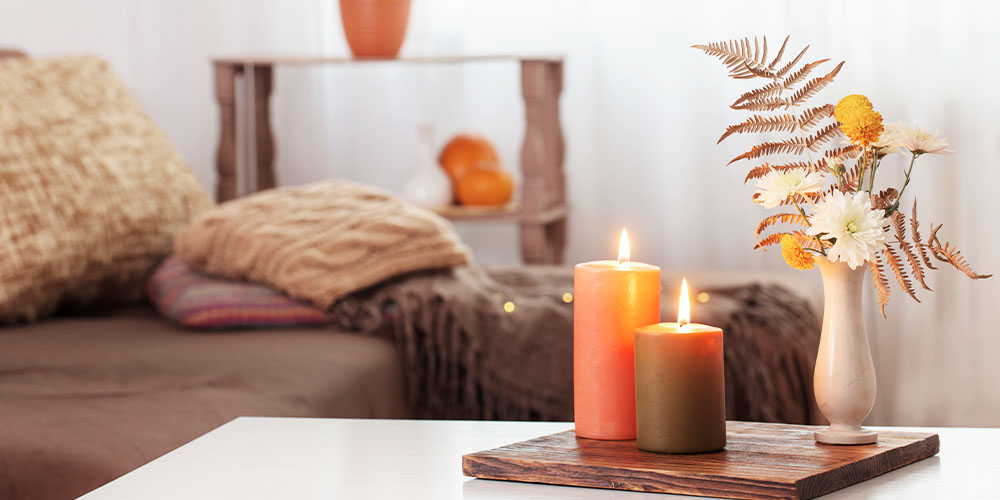wallace's garden center fall decor candles and dried florals