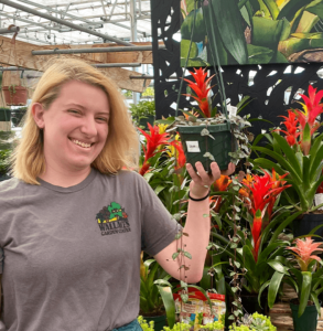 staff member Shannon at Wallace's garden center